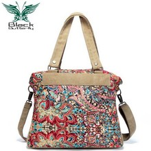 Black Butterfly original design ethnic style Women Shoulder Bag Bohemian Printing Tote Shopping Handbags