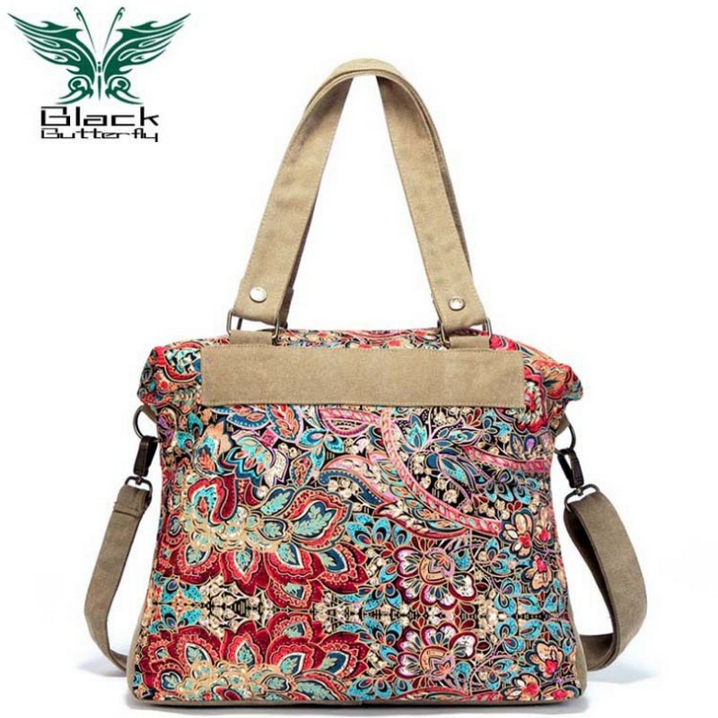Black Butterfly original design ethnic style Women Shoulder Bag Bohemian style Printing Tote Bag Women Shopping Handbags