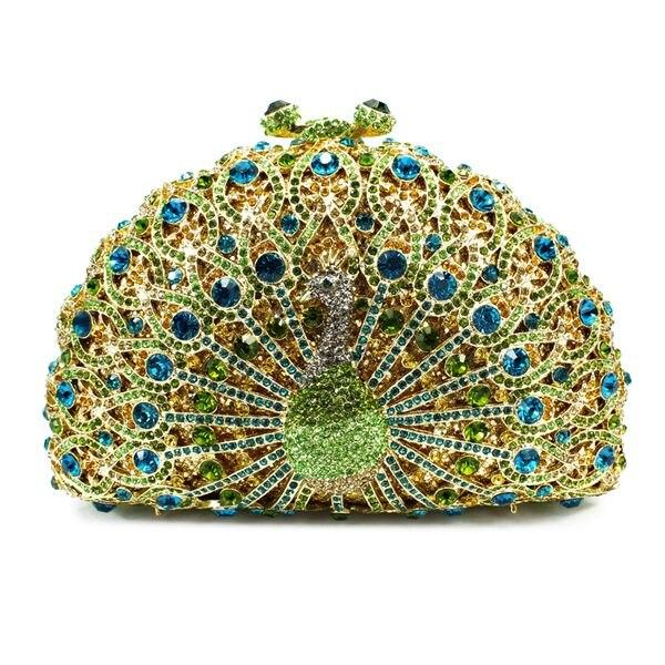 Forme animale vert décoration de mariage paon dames fête porter des sacs (8105A-GB)