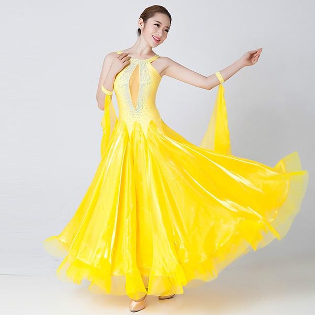 Modern Dance Costumes Sleeveless Ballroom Dancing Costumes Show Big Swing Waltz Dance Competition Costume
