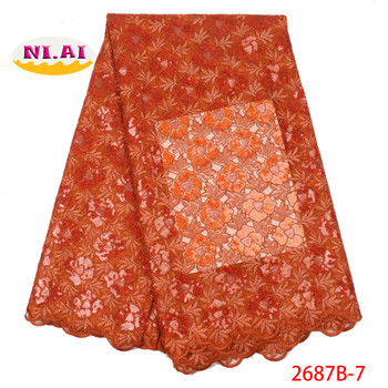 Burnt Orange Organza Lace Fabric 2019 High Quality Lace, Sequin Lace Fabric Evening Dresses, Nigeria Lace Bridal Fabric Mr2687b