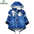 Boys Jacket Minnie Mouse Denim Jacket Infant Girls Winter Coat Hooded Baby Boy Padded Jacket 3-6T Children Thick Outerwear