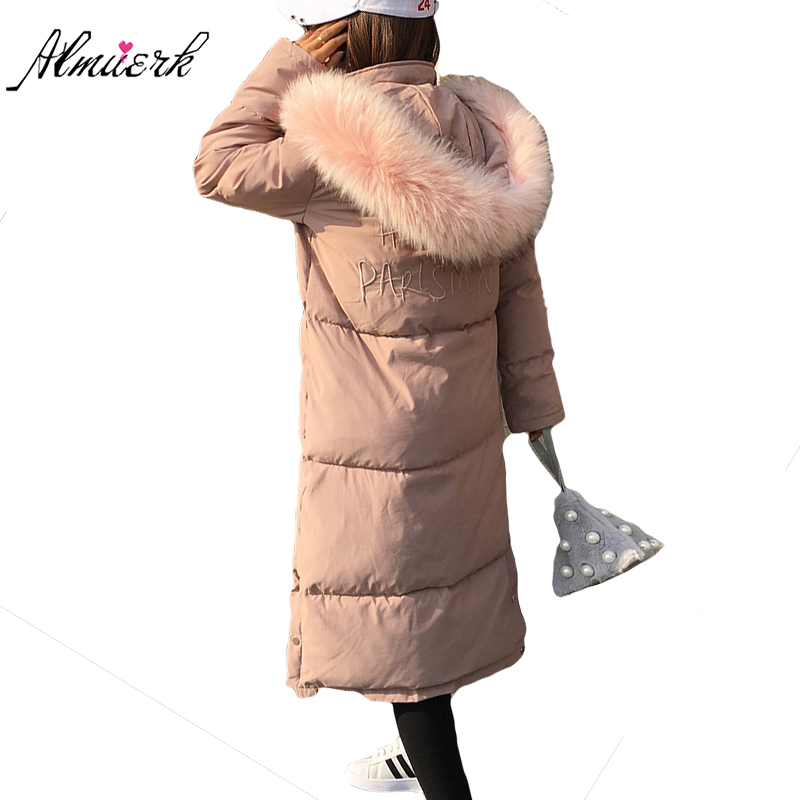 Long Winter feather cotton jacket female Hooded Fur collar warm woman coats High quality slim parka Winter women outerwear YZ365