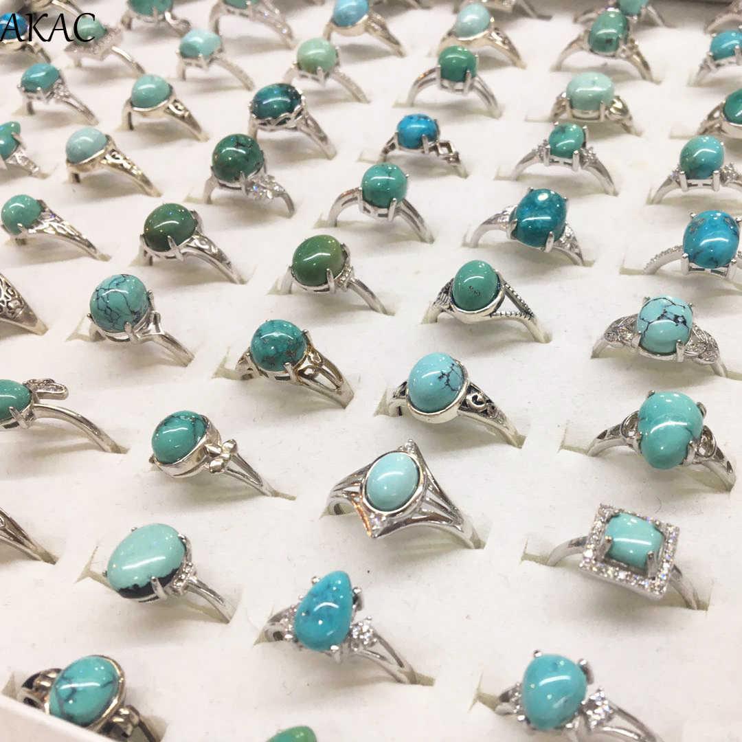 AKAC สีเขียวธรรมชาติเทอร์คอยส์แหวน Hubei ที่ไม่ผ่านการบำบัด turquoise ผู้หญิงแหวน 1/ชุด,ส่งแบบสุ่ม