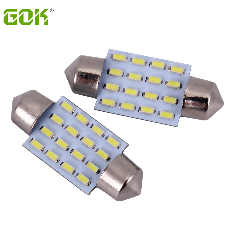 100PCS LOT led light festoon led C5W 16led 3014 smd 160lm led dome light 31MM 36MM
