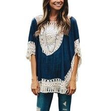 Autumn Oversized Lace Crochet Knitted Blouses Women Boho Tunic Top Blusa Feminina Shirt Tropical Tops 40430