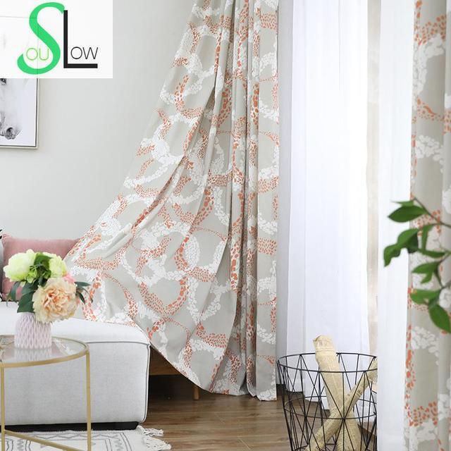 Slow Soul Orange Blue Dazzling Curtain Cotton Printed Endless ...