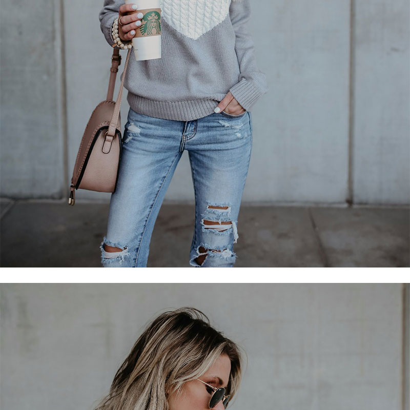 18 new winter white knitted sweater Women lantern sleeve loose gray pullover female Soft warm autumn casual love heart jumper 6