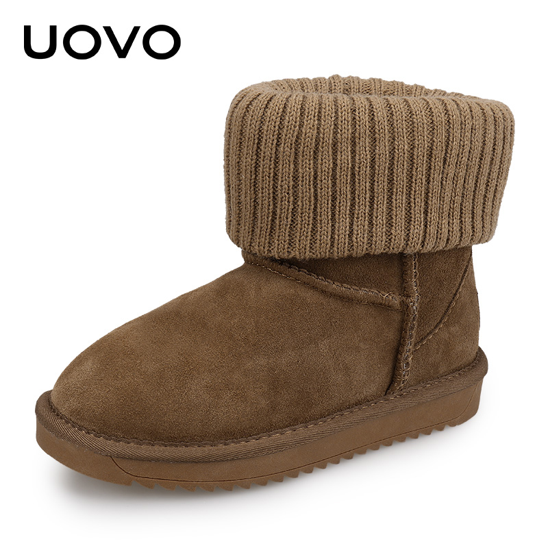 где купить Kids Snow Boots Uovo Girls Winter Boots Size 28-35 Suede Leather Slip-on Warm Shoes Black Grey Brown Flats Children Footwear по лучшей цене