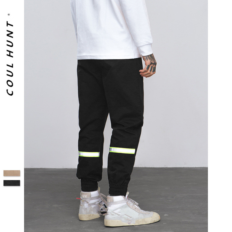 2019 SS Skateboard Reflctive Tape Casual Joggers Pants Hip Hop Elastic Waist Fluorescent Green Reflective Stripe Drawstring Pant