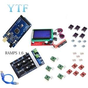 Image 2 - Mega 2560 R3 + 1Pcs RAMPS 1.4/1.5/1,6 Controller + 5Pcs A4988 Stepper Fahrer Modul/12864 LCD Control 3D Drucker Kit