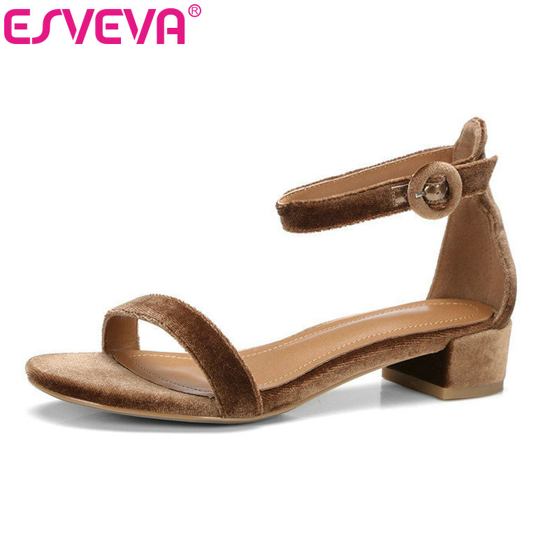 ESVEVA 2018 Ankle Strap Square Low Heel Real Leather Shoes Peep Toe Wedding Women Pumps Western Summer Fashion Shoes Size 34-39 enmayer summer women fashion sandals pumps shoes ankle strap peep toe buckle strap square heel platform large size 34 42 black