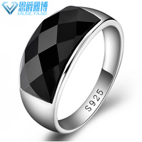 Pure Silver Platinum Men's Black Broad Faced Ring Korean Edition Fashion Jewelry Overbearing Single Trendy Gift