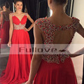 Luxuoso cristal frisada red chiffon prom vestidos longos vestidos 2017 v-neck backless a linha formal dress vestido de festa longo caftan
