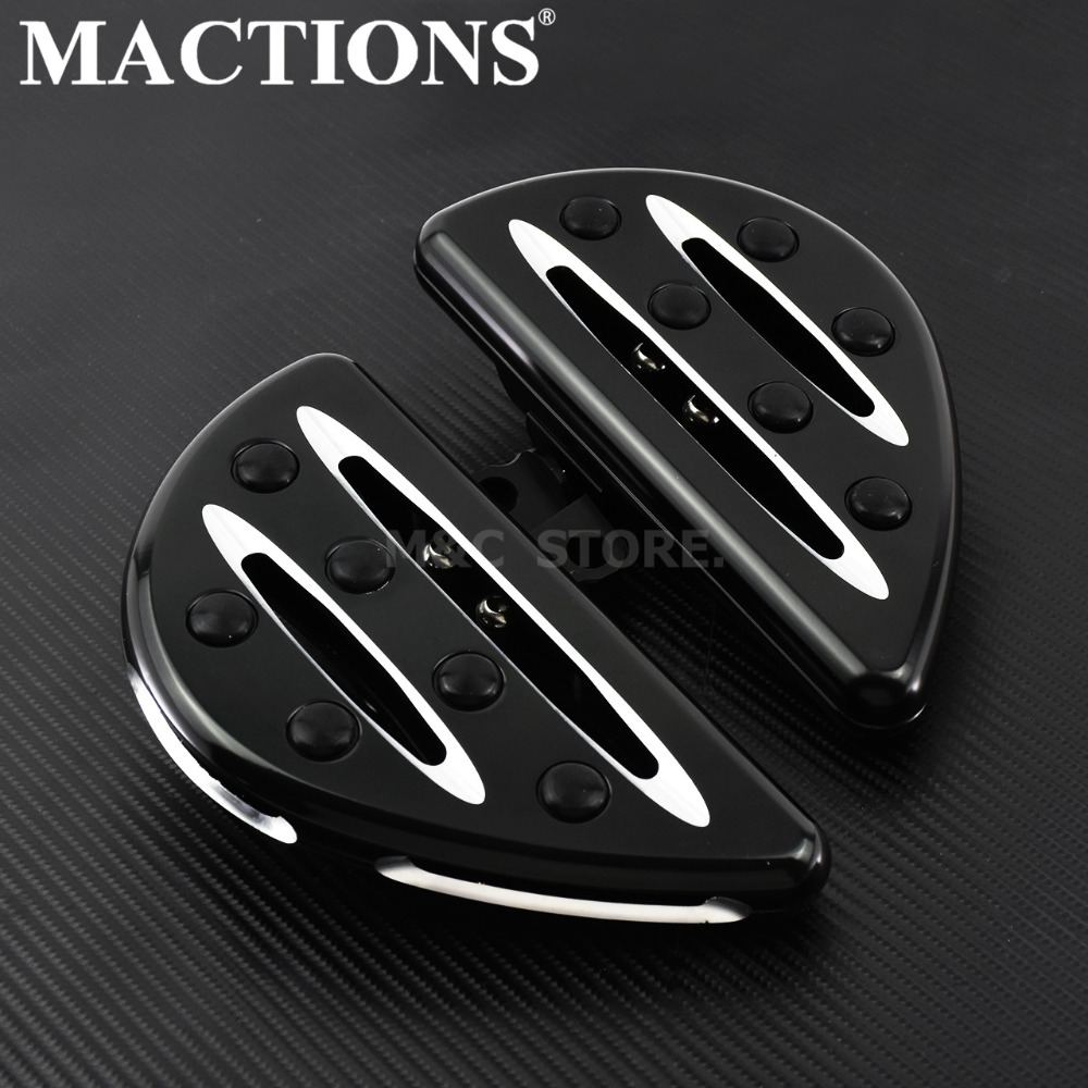 Motorcycle Black Cut Foot Pegs Footrest Floorboard Pedal For Harley Touring FLH Road King Dyna Sportster