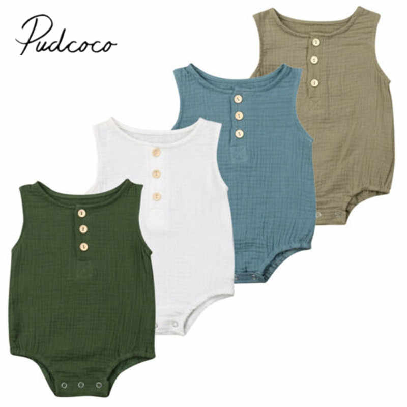 2019 Baby Summer Clothing New Infant Baby Girl Sleeveless 100% Cotton Bodysuit Outfit Sleeveless Solid Sunsuit Clothes 0-24M