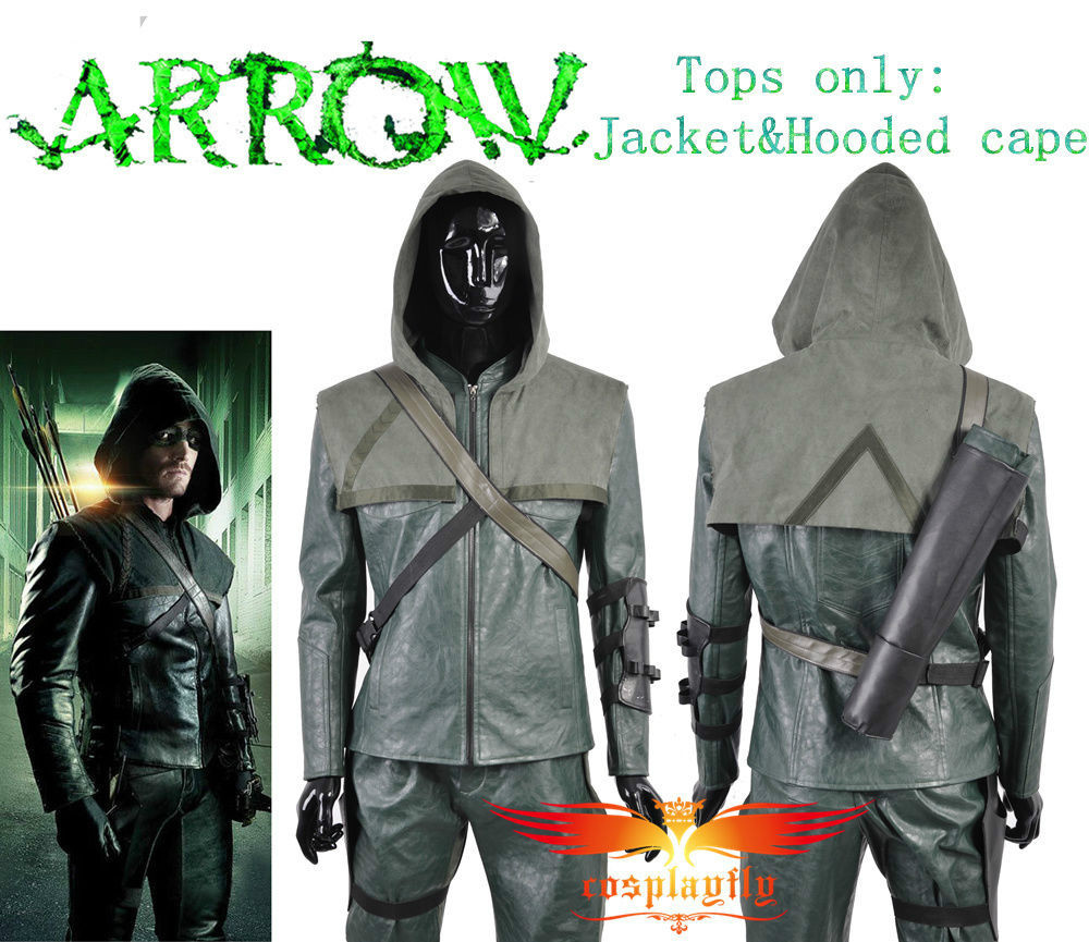 Tops Only Jacket and Hooded Cape For Green Arrow Oliver Queen Cosplay Costume Adult Men Outfit Clothing Christmas