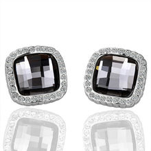 Crystal Zirconia Piercing Earing Black Stone Gold-Color Stud Earring For Women Bijou Brinco Earings Indian Fashion Jewelry E057(China)