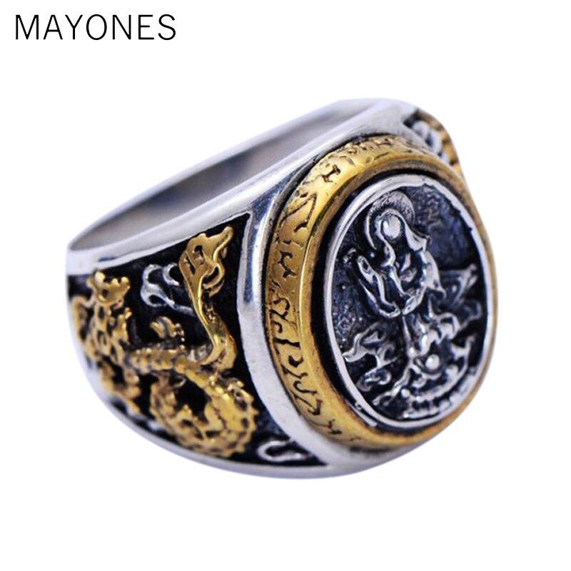 Véritable Figure de bouddha en argent Sterling 925 Guanyin sculpture Lotus Dragon couleur or pur spécial anneaux Vintage faits à la main pour hommes