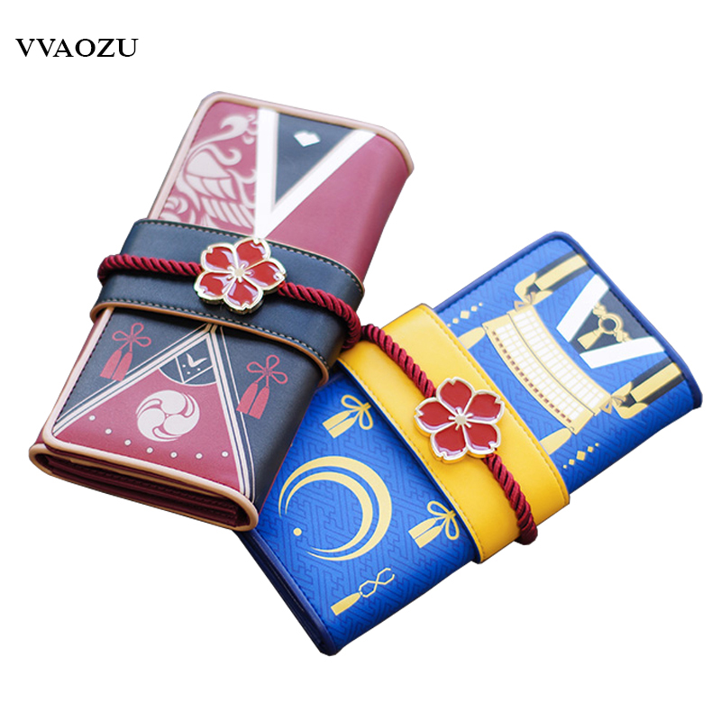Anime Touken Ranbu Online Mikazuki Munechika Izuminokami Kanesada Sakura PU Long Wallet Coin Purse Card Holder Organizer touken ranbu online good smile face changable 511 mikazuki munechika nendoroid pvc action figure collectible model toy