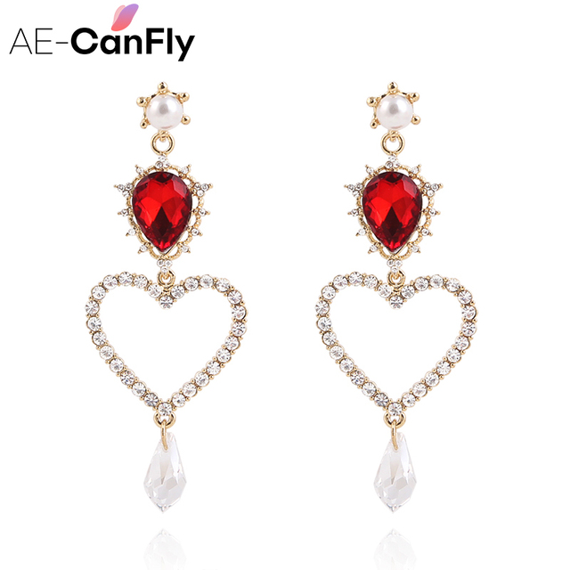 AE-CANFLY 2018 Korean Sweet Hollow Out Lover Heart Drop Earring Water Drop Cryst