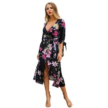 цена на summer long dress 2019 women deep v-neck wrap dress plus size clothing casual black flower dress ladies loose flowy dress C3102