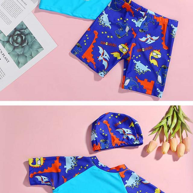 POPFavor 2Pieceswim caps for Boys Dino Cartoon Dionsaur Kids Swim Suit Children Beach Wear Three-pcs suit Swimwear