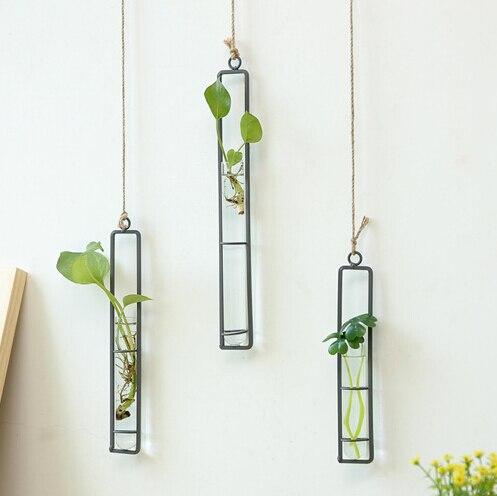 fa741225cb7 3pcs lot Simple Fashion Terrarium Flower Vase Log Hydroponics Container  Hangable Wall Decor Fresh Flower