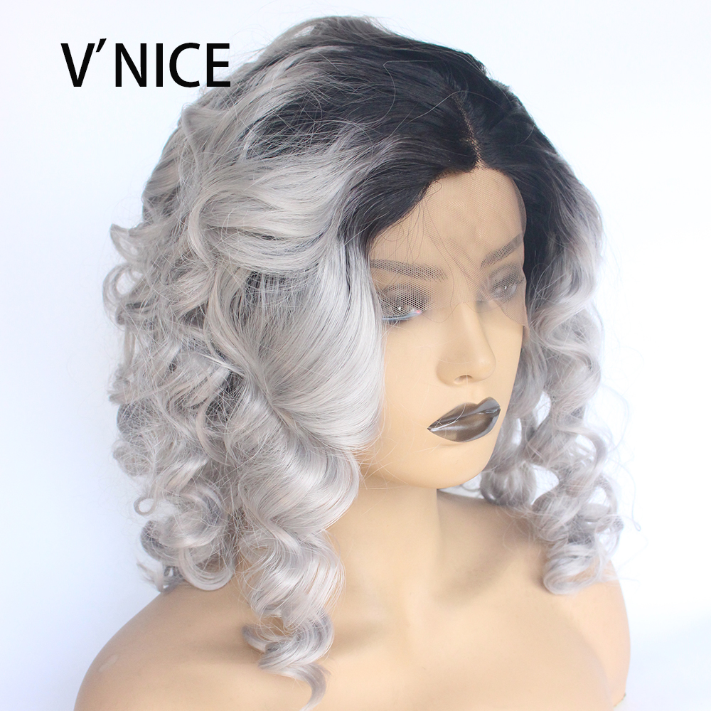 VNICE Synthetic Lace Front Wig Bob Curly Side Part Loose Wave Glueless Heat Resistant Fiber Short Ombre Grey Wavy Wig for Women