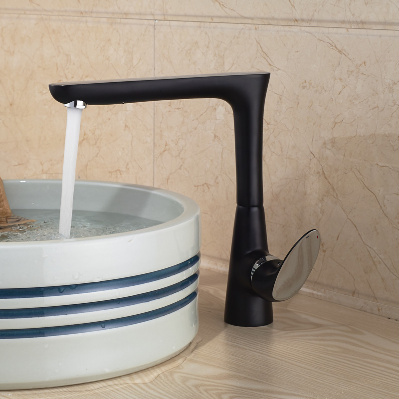 New One Hole Deck Mounted Brass Oil-rubbed bronze Finish Water Basin Sink Faucet allen roth brinkley handsome oil rubbed bronze metal toothbrush holder