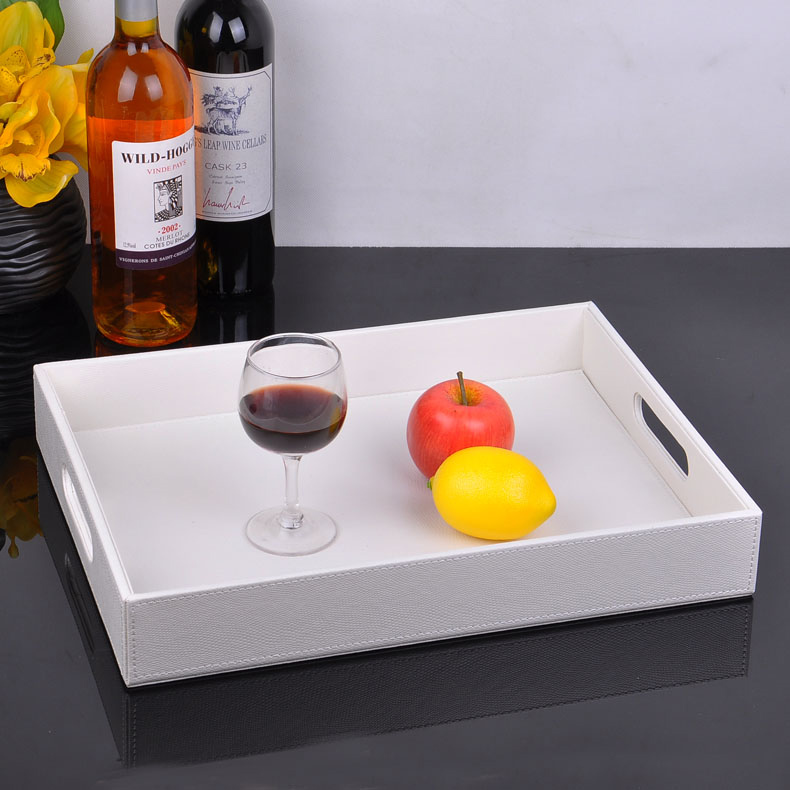 40x30cm Rectangle White Wooden Leather Serving Tray Trays Desk Set Food Fruit Storage Bandeja Decorativa Bandejas 291a In From Office School