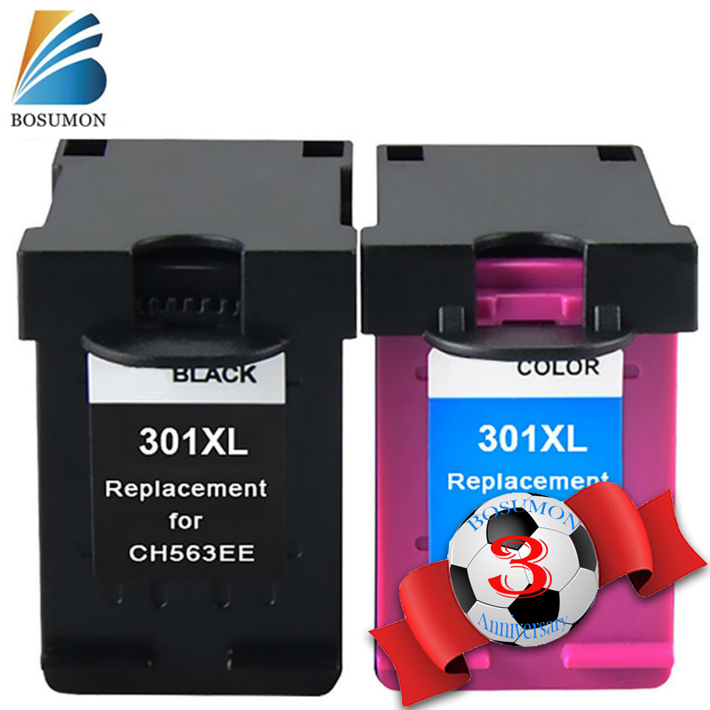 Bosumon 301xl Cartridge Replacement For HP 301 XL ink cartridges CH563EE CH564EE for Deskjet 1000 1050 2000 2050 2510 3000 3054 2pcs ink cartridge compatible for hp 122 xl for hp deskjet 1000 1050 2000 2050 2050s 3000 3050a 3052a 3054 1010 1510 2540