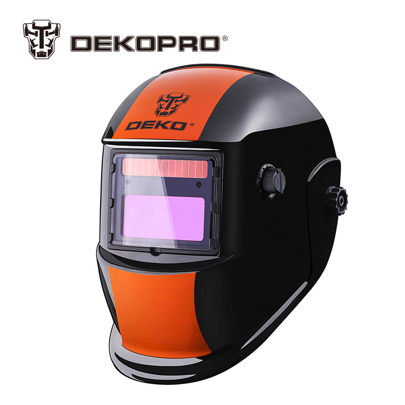DEKOPRO Orange Stripes Solar Auto Darkening MIG MMA Electric Welding Mask Helmet for Welding Machine or Plasma Cutter moski solar auto darkening mig mma electric welding mask helmet welder cap welding lens for welding machine