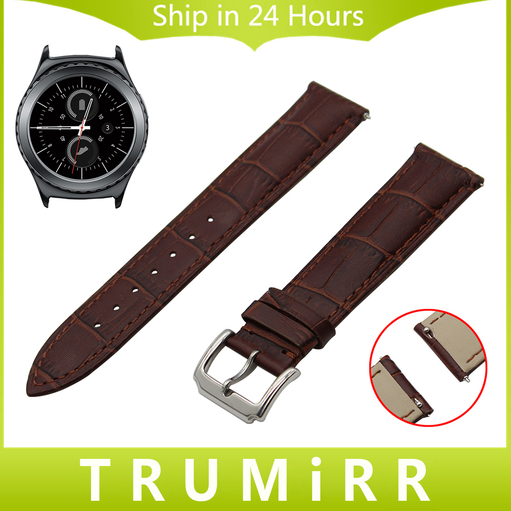 20mm Quick Release Watch Band 1st Layer Genuine Leather for Samsung Gear S2 Classic R732 R735 Moto 360 2 42mm Men Strap Bracelet genuine leather watch band strap for samsung galaxy gear s2 classic r732 black