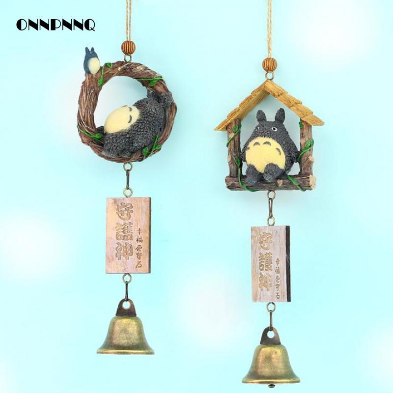 1pcs kawaii Cartoon Totoro Wind Chimes Gift Ornaments Decoration Home Wind Spinner Furnishing Campanula Guardian Home Decor