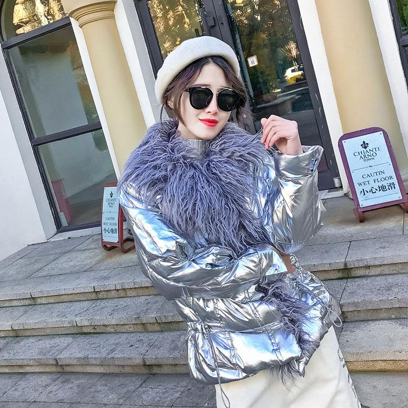 Damskie zimowe srebrny dół bawełny kurtka błyszczący 2019 złoty duże futro kołnierz grube błyszczące długie różowy niebieski ciepłe Plus rozmiar parki w Parki od Odzież damska na  Grupa 2
