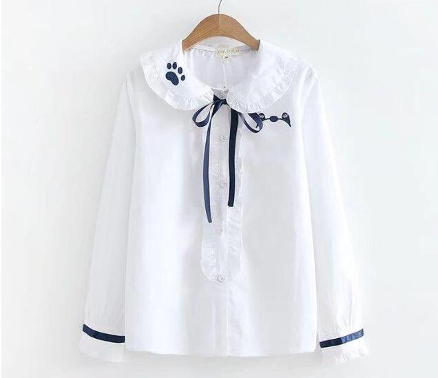White Women Blouse Harajuku Long Sleeve Elegant Ribbon Bow Ruffled Female Basic Blouse Cute Sweet Lolita Shirt blouse