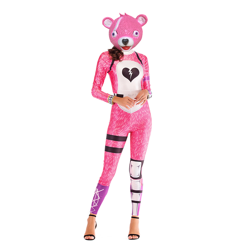 Panda Team Leader Costume Fancy Party Dress Halloween Costume for Women FortnitedCosplay Mask Christmas Streetwear Costumes