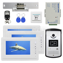 DIYSECUR Cámara Video de La Puerta Teléfono Video Intercom Timbre Monitor de Huelga Eléctrica Bloqueo RFID Keyfobs 1v3