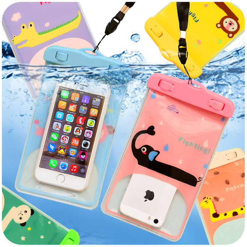 Kawaii Animal Cartoon Clear Waterproof Pouch Dry <font><b>Case</b></font> Cover 5.5&#8243; Mobile <font><b>Phone</b></font> Waterproof Bags for <font><b>iPhone</b></font> 4 4S 5 5S 6 <font><b>6S</b></font> <font><b>PLUS</b></font>