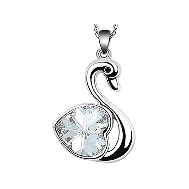 Peacock Star Party Quality 3 Carat Heart Swan Clear White, Blue, Purple, Pink Austrian Crystals Necklace CSN363