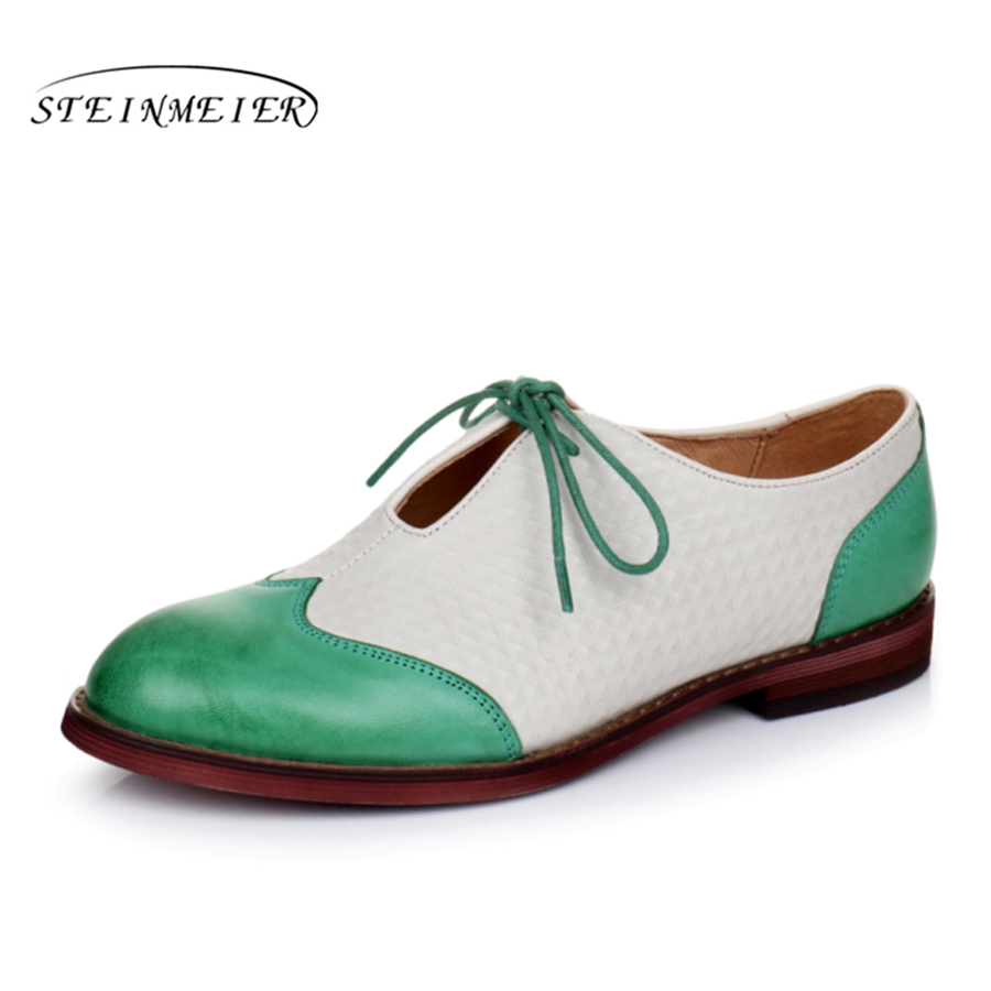 Genuine sheepskin leather brogue yinzo lady flats casual shoes handmade vintage oxford shoes for women green black yellow genuine leather woman size 9 designer yinzo vintage flat shoes round toe handmade black grey oxford shoes for women 2017