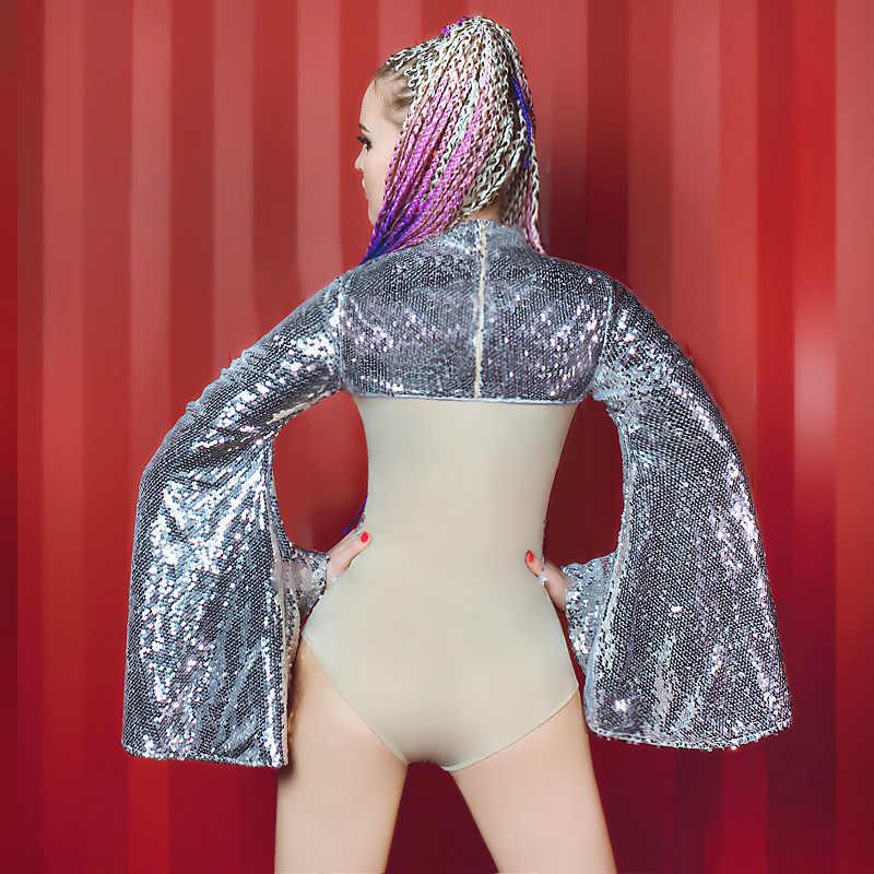 Джаз танец обнаженный комбинезон стрейч костюм Стразы праздновать блестки комбинезон DJ DS женский певица день рождения танцевальное платье
