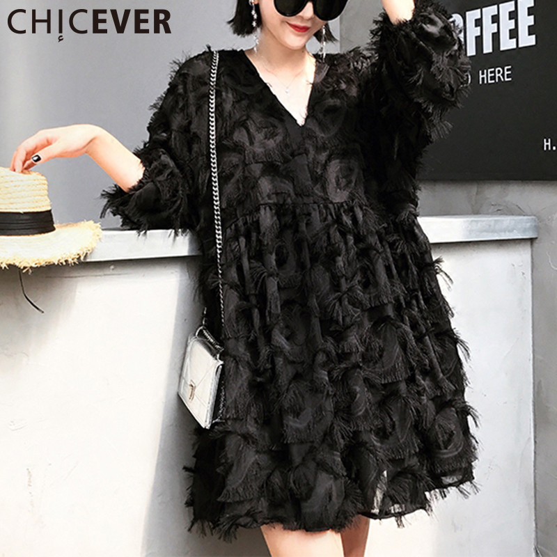 CHICEVER 2017 High Waist Autumn Dress Women Tunic Feathers Tassel V neck Pullovers Black Dresses Female Clothes Fashion Korean