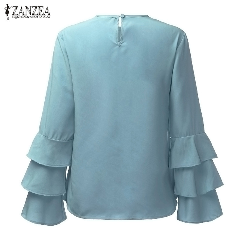 HTB1ex2bOVXXXXcpXVXXq6xXFXXXU - Women Blouses Shirt Elegant Ladies O Neck Long Flare Sleeve
