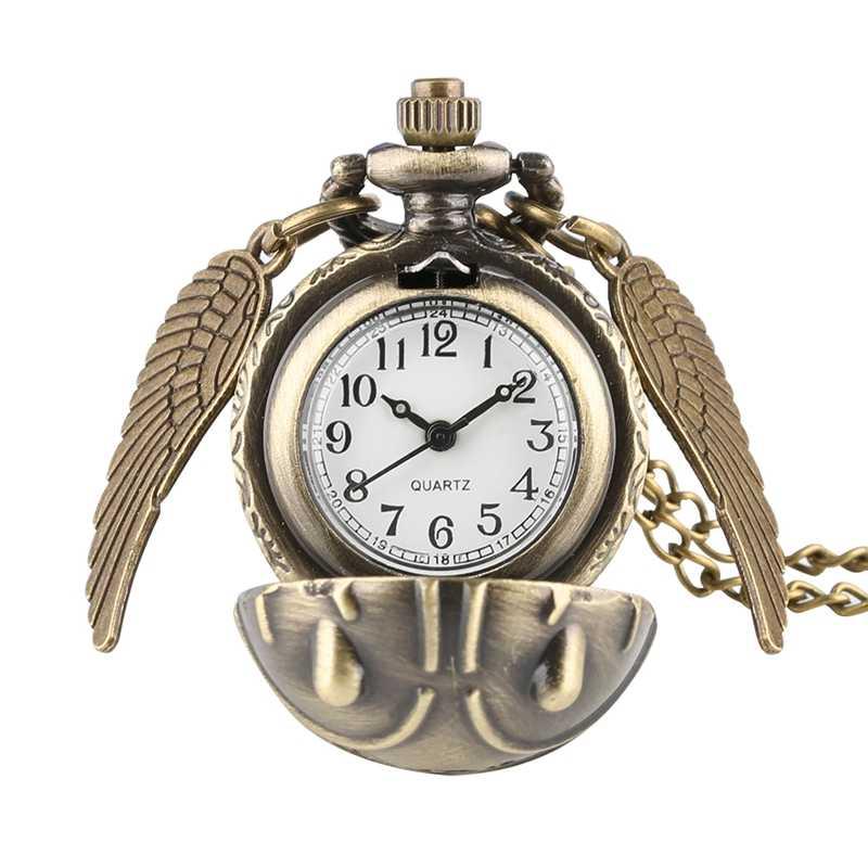 Ретро сныч шаровой формы Харри Поттер кварцевые карманные часы модный свитер Крылья Ангела ожерелье цепочка подарки для мужчин и женщин дети
