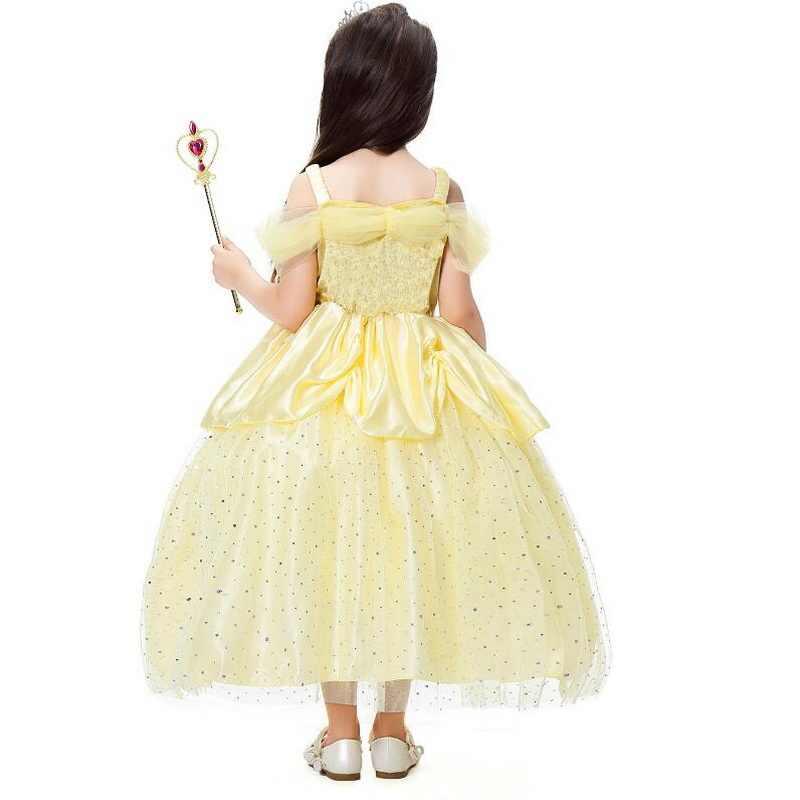 Kız prenses fantezi giyinme Belle kostümleri çiçekler kapalı tek omuzlu elbise Up Deluxe top cüppeli elbiseler çocuklar parti elbise vestido