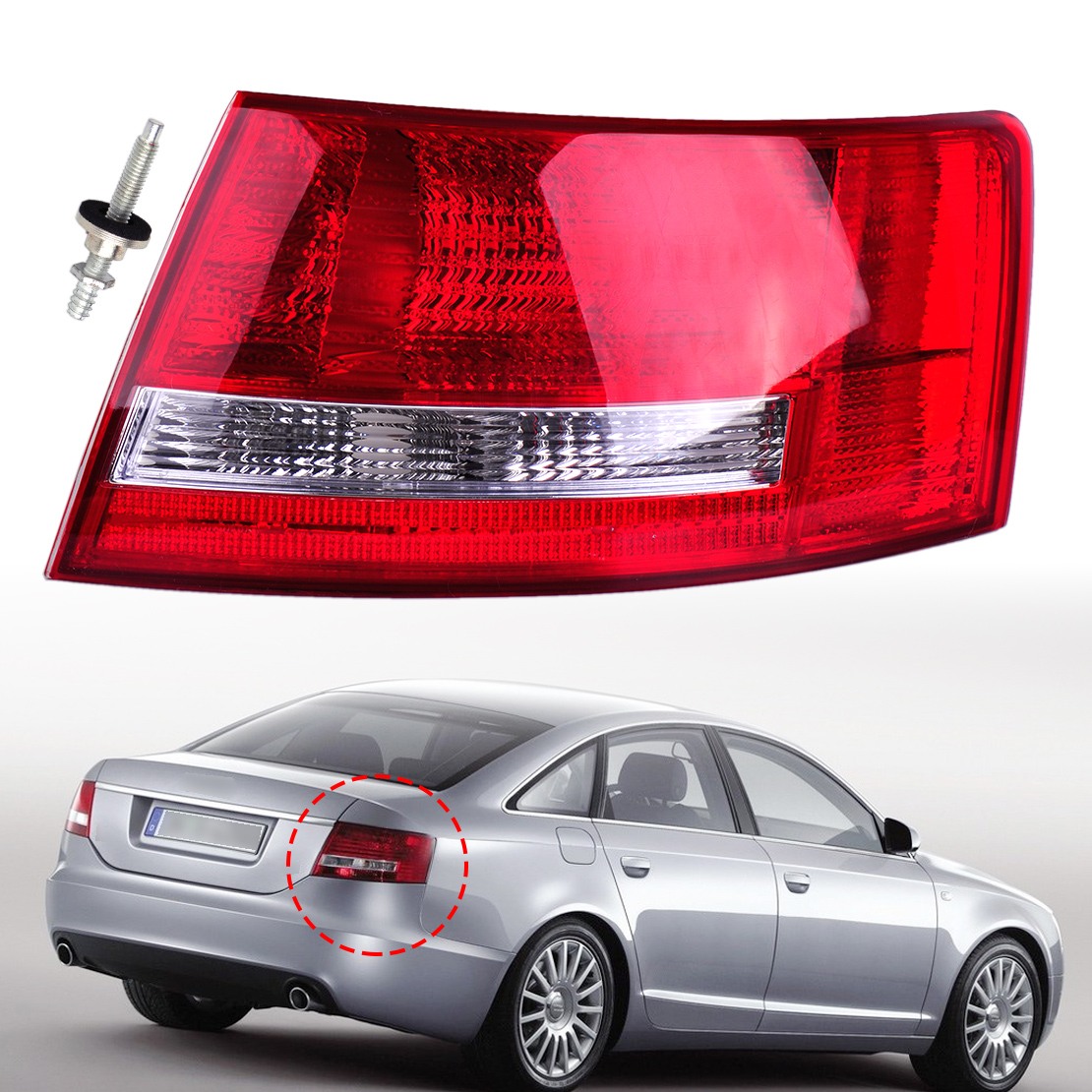 4F5945096D 4F5 945 096D Right Tail Light Assembly Lamp Housing without Bulb fit for Audi A6/A6 Quattro Sedan 2005 2006 2007 2008 free shipping for skoda octavia sedan a5 2005 2006 2007 2008 right side rear lamp tail light