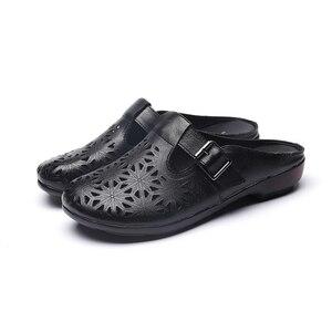 Image 5 - GKTINOO 2020 الصيف المرأة جلد طبيعي قباقيب أحذية مستديرة رئيس الانزلاق على فام النعال الرجعية جوفاء Zapatillas Mujer