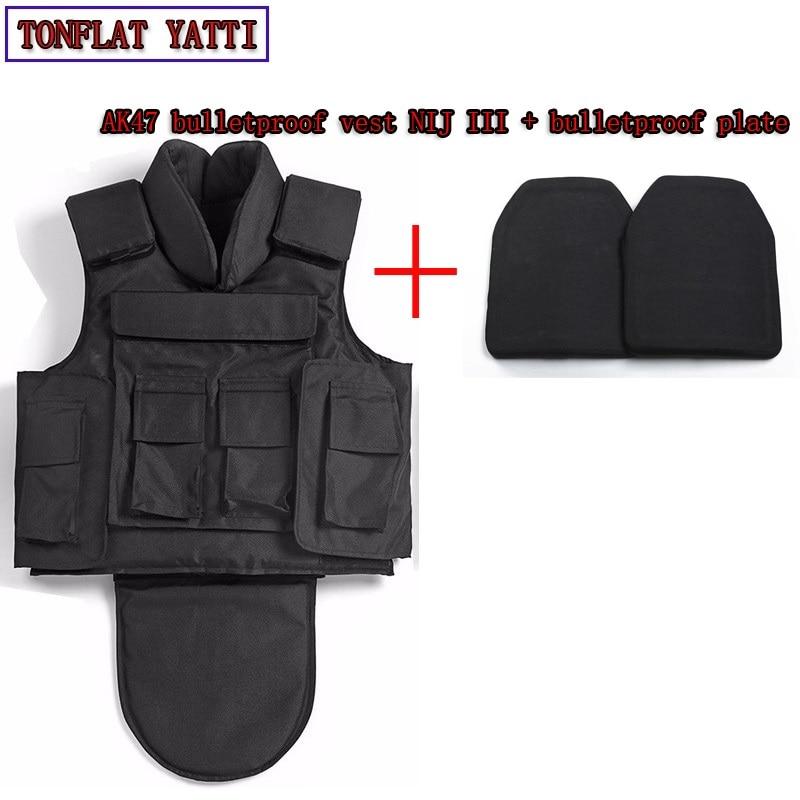 NIJ III Full Body Armor Aramid Fibers1000D Nylon AK47 Bulletproof Vest+bulletproof Board 7.62x39 Military Vest Colete Balistico